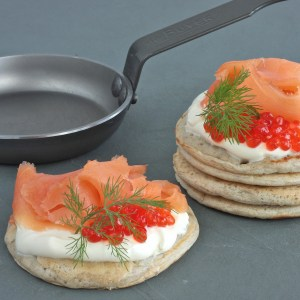 Range Cooker Recipes Buckwheat blinis with smoked salmon and crème fraiche